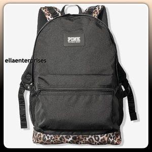 VS Pink Campus Backpack Leopard Black Bookbag Bag